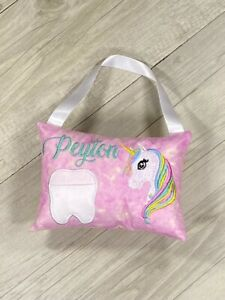 Personalised Tooth Fairy Pillow Unicorn Tooth Pocket Cushion Hand Made Birthday