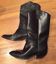 L👀K: SZ 8M Black Leather Upper Fashion Cowboy Boots-Brazil,HardlyWorn