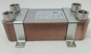 """30 Plate Water to Water Brazed Plate Heat Exchanger 1"""" FPT Ports w/ Brackets"""