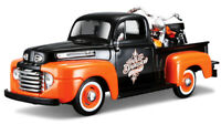 FORD F-1 PICK UP TRUCK with HARLEY HAVIDSON BIKE 1:24 Car model toy