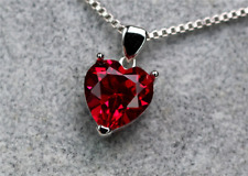 Top quality. Heart Shape Pigeon Blood red Ruby sterling silver Pendant Necklace