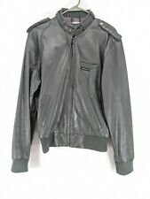 Members Only Leather Cafe Racer Jacket Mens Sz 40 Gray (hg)