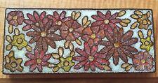 Large Vintage Floral Signed Ceramic Crackle Glaze Tile Trivet