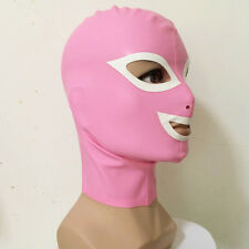 Sexy Pink Latex Unisex Hood Mask with White Trim Cosplay Party Wear Rubber Mask