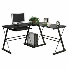 New Computer Desk PC Glass  Corner Home Office L-Shape Laptop Table Workstation