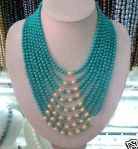 Handmade AAA+ Beautiful 8 Rows 6mm Turquoise + White Pearl Necklace 17-24''