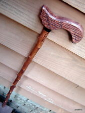 Red-OAK handle spiky CHERRY-WOOD CANE/walking stick~faux blackthorn~signed/dated