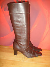 MARKS & SPENCER BROWN LEATHER RIDING STYLE BOOTS   UK 5.5  EU 39 *66*