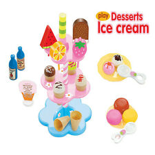 Kids Food Pretend Play Toy Set Sweet Treats Colorful Ice Cream Dessert Tower