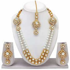Indian Bollywood Fashion Ethnic Gold Tone Wedding Necklace Earrings Jewelry Set