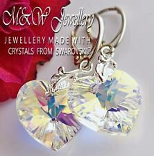 925 Sterling Silver Earrings Crystals From Swarovski® 18mm *HEART* Crystal AB