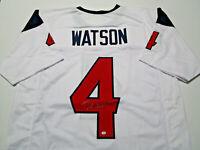 DESHAUN WATSON / AUTOGRAPHED HOUSTON TEXANS WHITE CUSTOM FOOTBALL JERSEY / COA