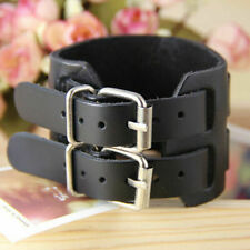 Men Wide Leather Bangle Wristband Cuff Bangle Bracelet with Adjustable Buckle