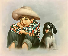 Boy Dog Painting Best Friends Signed Harrisn Oil Canvas Unframed 03334
