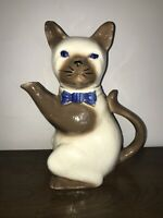 Vintage Tony Wood Studio Pussy Foot Decorative Siamese Cat Tea Pot England
