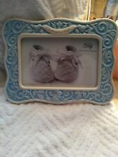 Christening Picture Frame. 4x6 Blue &White Ceramic with Glass cover. Boy.