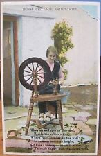 Vintage Postcard IRISH COTTAGE INDUSTRIES Woman Spinning Wheel Donegal Ireland