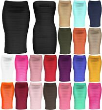 Womens Strapless Tube Dress and Pencil Midi Bodycon Skirt in One