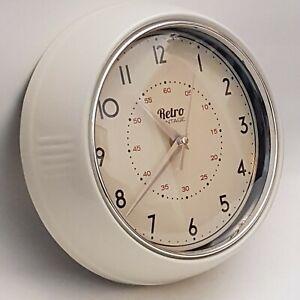 Retro Vintage Style Round Metal Wall Clock Cream (A6)