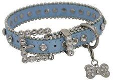 Showman Couture MEDIUM BLUE Leather Dog Collar w/ Rhinestones & Bone Charm! NEW!