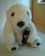 Vintage 1993 Coca Cola Polar Bear Holds Coca Cola Bottle Plush 8""