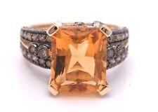 LeVian Ring Chocolate Diamond Citrine 6.60 cttw RING 14K Yellow gold Size 7