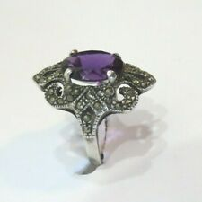 VINTAGE AMETHYST RING W/MARCASITE, SET IN .925 STERLING SILVER SIZE 8