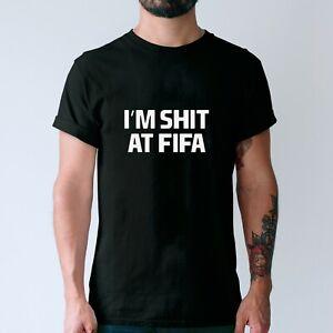 Funny Gamer Tee Im S**T at FIFA Mens Xmas Gift Idea for Him Boyfriend Friend Top