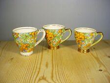 Empire Porcelain Co. Golden Wattle Chintzware Three Coffee Cups
