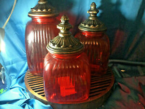 3 Vintage Flashed Red Glass Ribbed Canister Set With Bronze Lids READ