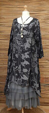 LAGENLOOK*BELLA BLUE*SOFT COTTON MIX A-LINE DRESS/TUNIC*BLACK/GREY*SIZE 38-40