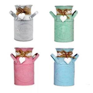 Vintage Shabby Chic Flower Vase Tin Pitcher Jug Metal Wedding Home Decor NEW