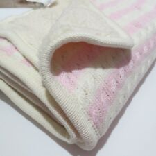New POTTERY BARN KIDS Emerson BABY BLANKET pink Ivory Cable Knit Sherpa CAROLINE