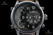 JBW Men's 52mm G4 Gunmetal 16 Diamond Black Dial Triple Time Zone Strap Watch