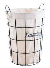 Cesta de ropa sucia de metal forrado con tela blanca (Laundry), colada