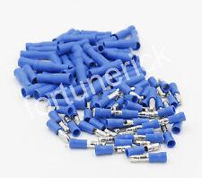100x Kabelschuhe Rundsteckhülsen 50 Rundstecker 50 Set Quetschverbinder Blau kfz