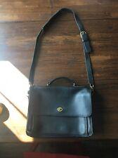 BR34 Vintage Coach Black Leather Messenger Cross Body/Satchel Bag