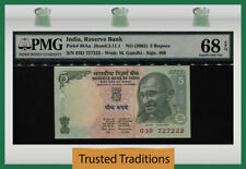 "TT PK 88Aa ND (2002) INDIA 5 RUPEES ""GANDHI"" PMG 68 EPQ SUPERB GEM NONE FINER!"
