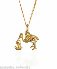 "1.8g 9ct Gold Stork and Baby Pendant & 18"" 9ct Gold Chain. Swinging Baby."