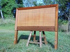 Vintage Mid Century Modern Walnut & Cane Single Twin Size Headboard Modernist