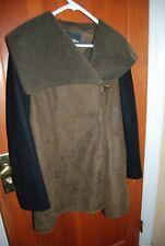 Black & Dark Brown Faux Leather & Wool SAM EDELMAN Fleece Lined Shawl Coat M
