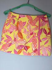 LILLY PULITZER Pacific Wing Parrot Yellow Pink Orange Skirt Skort Cruise Size 4
