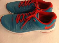 Mens Nike 14M Sneakers  Free Trainer Athletic Sports 3.0 Aqua Blue Orange Laces