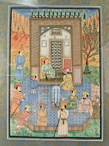 TRES BELLE PEINTURE SUR SOIE IRAN ANCIENNE SOUS VERRE CADRE doré scènes ORIENT