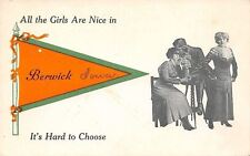 """""""All the Girls are Nice in"""" Berwick Iowa~It's Hard to Choose~1913 Pennant PC"""