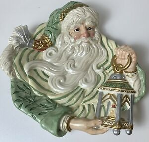 """Fitz and Floyd Classics Christmas Court 10"""" Plate Santa Face Hand Crafted"""
