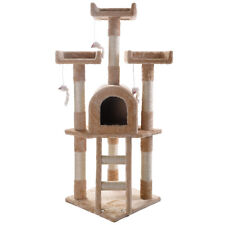 Cat Tree Post Scratcher Furniture Play House Pet Bed Kitten Toy Beige