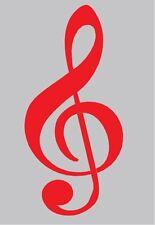"Treble Clef Musical Symbol Red Auto Car Decal Sticker Graphic 7.5"" X 3.5"" New"
