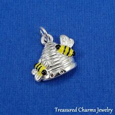 Silver BEEHIVE CHARM Honey Bee Insect Nature PENDANT *NEW*