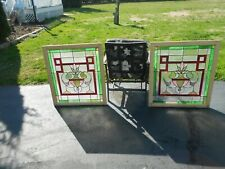 Matching Pair Of Art Nouveau Colorful Stained Glass Floral Antique Windows Frame